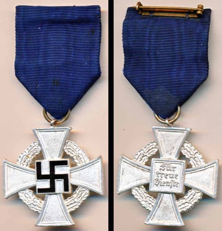 WW2 German 25 Year True Faithful Service Cross Treuedienstehrenzeichen
