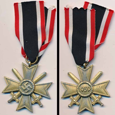 WW2 German War Service Cross 2nd Class with Swords.  Kriegsverdienstkreuz 2. mit Schwerten 100