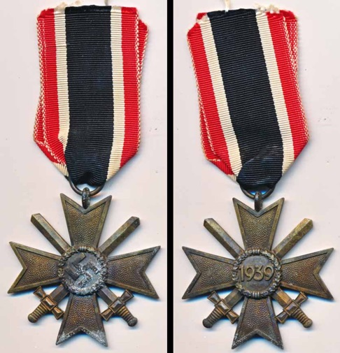 WW2 German War Service Cross 2nd Class with Swords.  Kriegsverdienstkreuz 2. Klasse mit Schwerten 110 Otto Zappe