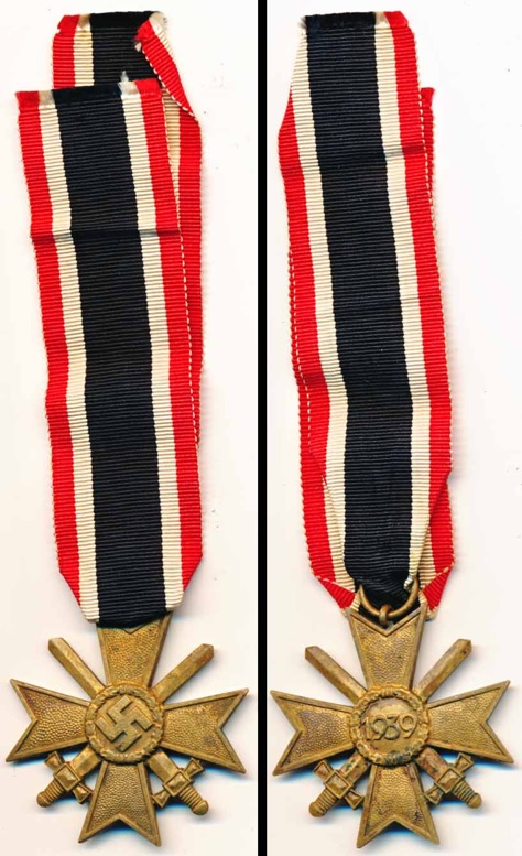 WW2 German War Service Cross 2nd Class with Swords.  Kriegsverdienstkreuz 2. mit Schwerten