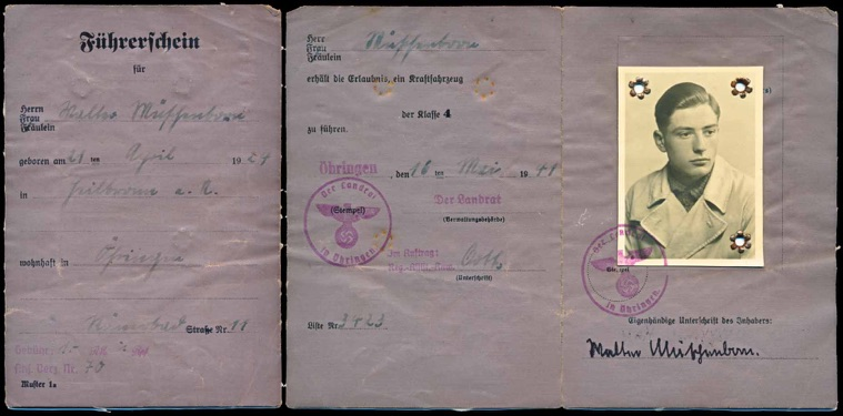 WW2 German Fuehrerschein Driver's License under 250cc