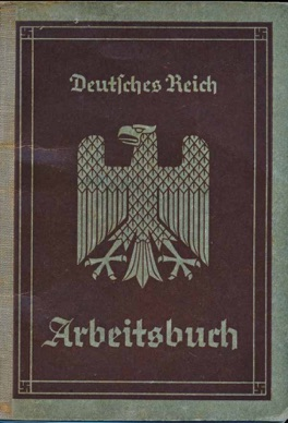 WW2 German 1st Style Arbeitsbuch Worker's Book ID for electrician from Saarbrücken