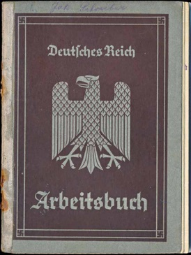WW2 German 1st Style Arbeitsbuch Worker's Book ID for blacksmith Saarbrücken