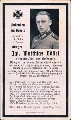 WW2 German Death Card Sterbebild Close Combat Clasp in Gold