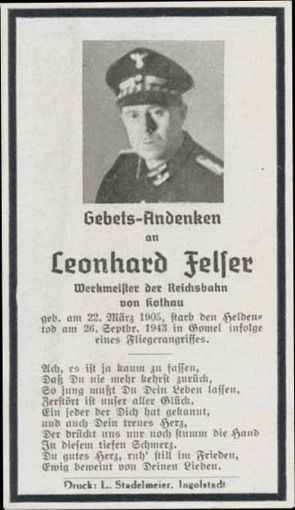 WW2 German Death Card Sterbebild Reichsbahn Railway Gomel aerial attack 1943