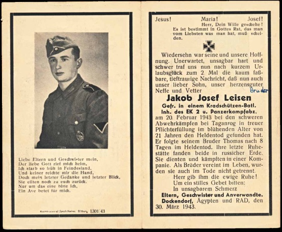 WW2 German Death Card Sterbebild Kradschuetzen