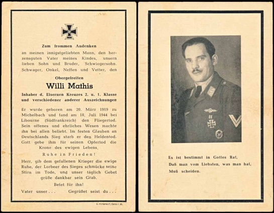 WW2 German Death Card Sterbebild Bord Funker Mathis Luftwaffe Bomber Clasp