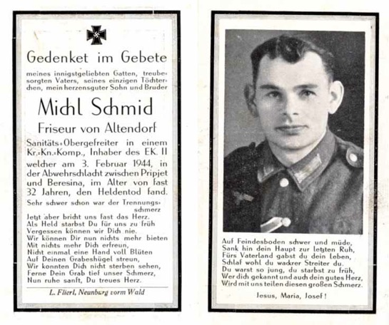 WW2 German Death Card Sterbebild Army Medic won Iron Cross