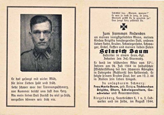 WW2 German Death Card Sterbebild NSKK Heinrich Baum