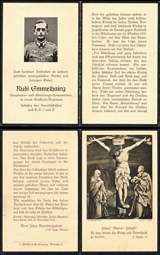 WW2 German Death Card Sterbebild Hauptmann Captain Narvik Shield