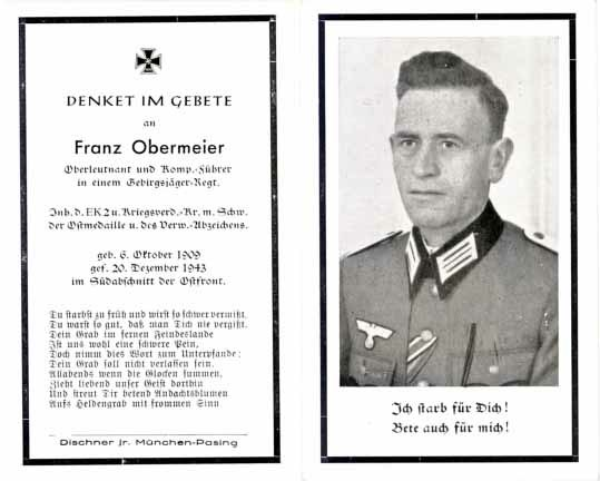 WW2 Death card Sterbebild Gebirgsjaeger Officer