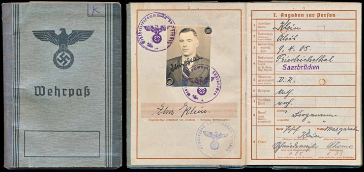 WW2 German Army Wehrpass for Alois Klein